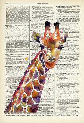 Animals Paintings - Giraffe on Vintage Dictionary by Hailey E Herrera