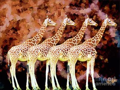 Animals Digital Art - Giraffes mosaic by Chris Bee Photography