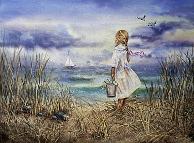 Old Masters - Girl Dreaming Of The Ocean Beach And Sailing   by Irina Sztukowski