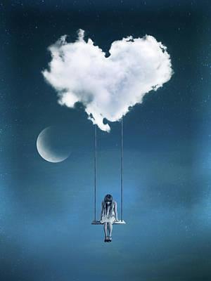 Surrealism Digital Art - Girl in a swing heart cloud by Mihaela Pater