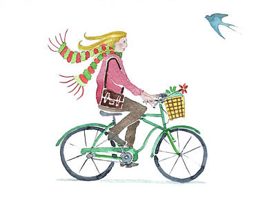 Popstar And Musician Paintings - Girl On a Bike with a Bird by Luisa Millicent