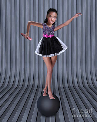 Surrealism Digital Art - Girl on the ball. Collage Surreal Art. by Damien Evans