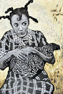 Animals Paintings - Girl With A Chicken by David Hinds