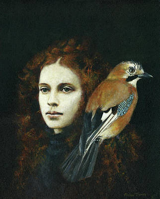 Surrealism Royalty-Free and Rights-Managed Images - Girl With Jay by Michael Thomas