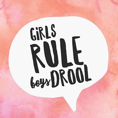Studio Grafika Vintage Posters - Girls Rule Boys Drool by Brandi Fitzgerald