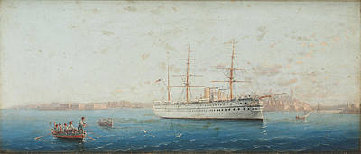 Travel Rights Managed Images - Girolamo Gianni Italian 1837c1896 The troopship amp 147 Euphrates amp 148 leaving Valletta with redc Royalty-Free Image by Artistic Rifki