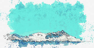 Royalty-Free and Rights-Managed Images - Glacier Mountain Under Blue Sky, ca 2021 by Ahmet Asar, Asar Studios by Celestial Images