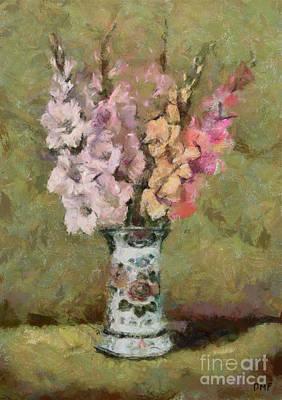 Amy Weiss - Gladioli in a Delft Vase by Dragica Micki Fortuna