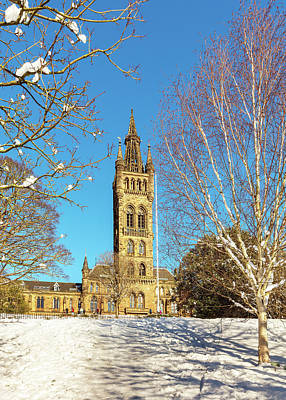 Royalty-Free and Rights-Managed Images - Glasgow University tower in winter by Grant Glendinning