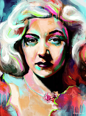 Coffee Signs Royalty Free Images - Gloria Grahame painting Royalty-Free Image by Stars on Art