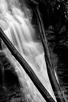 Abstract Airplane Art - Going With The Flow Waterfall Logs Black and White by John Stephens