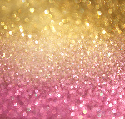 Royalty-Free and Rights-Managed Images - Gold And Pink Abstract Bokeh Lights. Defocused Background  by Julien
