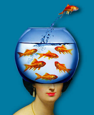 Surrealism Royalty-Free and Rights-Managed Images - Gold Fish Bowl Woman Surreal Tee Tees T-Shirt by Tony Rubino