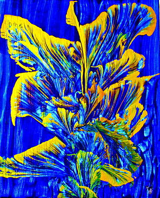 Painting Royalty Free Images - Gold On Blue Bouquet Royalty-Free Image by Joyce Dickens