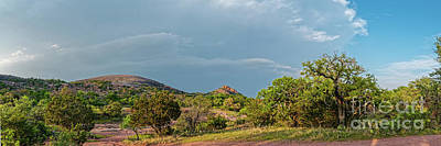 Curated Beach Towels - Golden Hour Panorama of Enchanted Rock and Turkey Peak with Spring Storm Looming - Fredericksburg TX by Silvio Ligutti