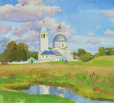 Gaugin Rights Managed Images - Golden meadow at the monastery walls Royalty-Free Image by Victoria Kharchenko