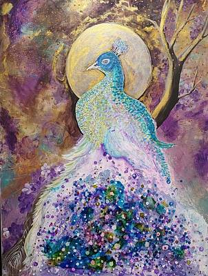Animal Watercolors Juan Bosco - Golden Moon Peacock by Alma Yamazaki