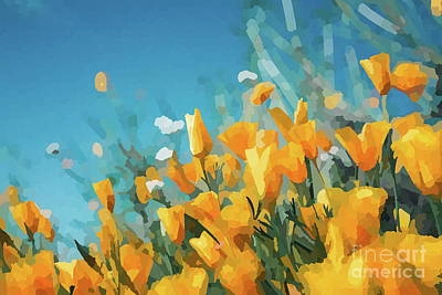 Vintage Diner Cars - Golden Orange Poppies Abstract Impressionist Flowers by Itaya Lightbourne