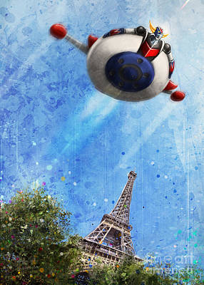 Digital Art - Goldorak Tour Eiffel by Andrea Gatti