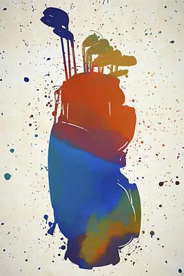Sports Paintings - Golf Bag Color Splash by Dan Sproul