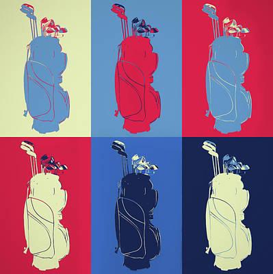 Sports Paintings - Golf Bag Pop Art Panels by Dan Sproul