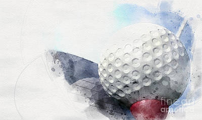 Recently Sold - Sports Royalty-Free and Rights-Managed Images - Golf Tee Off Watercolor by Allan Swart