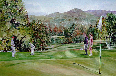 Sports Paintings - Golfing in Vermont by P Anthony Visco
