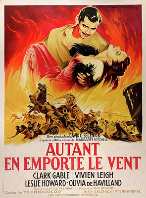 Mixed Media Royalty Free Images - Gone with the Wind French movie poster 1939 Royalty-Free Image by Stars on Art
