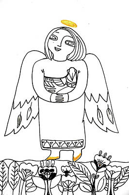 Animals Drawings - Good Angel Drawing Series 1 by Tatiana Koltachikhina