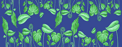 Painting Royalty Free Images - Gorgeous Green Exotic Leaves On Blue Pattern Royalty-Free Image by Irina Sztukowski