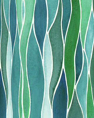 Royalty-Free and Rights-Managed Images - Gorgeous Organic Whimsical Grass In Batik Watercolor Garden I by Irina Sztukowski