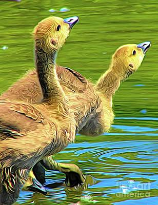 Ethereal - Goslings Testing The Water at  Sinking Ponds East Aurora NY Abstract Expressionism by Rose Santuci-Sofranko
