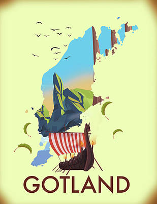 Katharine Hepburn - Gotland Travel poster by David Greenaway
