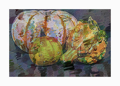 Vintage Diner Cars - Gourds and Pumpkin Digital Art by Lori A Cash