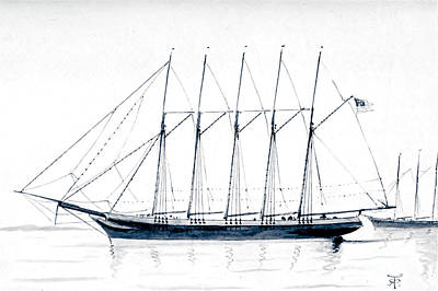 Drawings Royalty Free Images - Governor Ames Five Masted trading Schooner e2 Royalty-Free Image by Historic illustrations