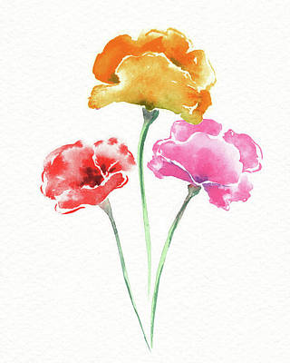 Superhero Ice Pop - Graceful Beauty Botanical Watercolor Three Iceland Poppies Flowers  by Irina Sztukowski