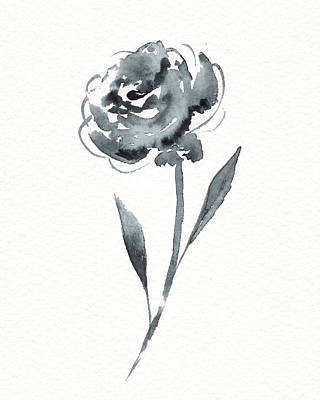 Landscape Photos Chad Dutson - Graceful Simple Beauty Botanical Gray Watercolor Flower I by Irina Sztukowski