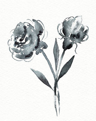 Landscape Photos Chad Dutson -  Graceful Simple Beauty Botanical Gray Watercolor Flowers by Irina Sztukowski