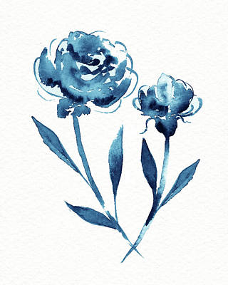 Landscape Photos Chad Dutson - Graceful Simple Beauty Botanical Indigo Blue Watercolor Flowers by Irina Sztukowski