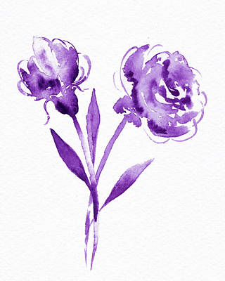 Landscape Photos Chad Dutson - Graceful Simple Beauty Botanical Purple Watercolor Flowers by Irina Sztukowski