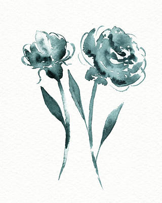 Landscape Photos Chad Dutson - Graceful Simple Beauty Botanical Teal Gray Watercolor Flowers by Irina Sztukowski