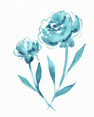 Personalized Name License Plates - Graceful Simple Beauty Botanical Turquoise Blue Watercolor Flowers by Irina Sztukowski