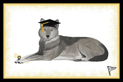 Animals Royalty-Free and Rights-Managed Images - Graduation Wolf Gold by College Mascot Designs
