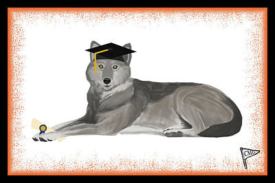 Animals Royalty-Free and Rights-Managed Images - Graduation Wolf Orange by College Mascot Designs