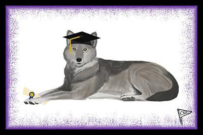 Animals Digital Art - Graduation Wolf Purple by College Mascot Designs