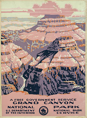Drawings Royalty Free Images - Grand Canyon National Park Vintage Poster Royalty-Free Image by US National Park Service