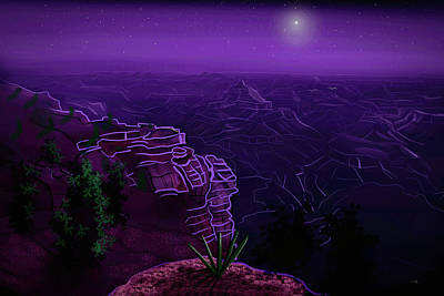 Surrealism Royalty-Free and Rights-Managed Images - Grand Canyon Stars by Chance Kafka