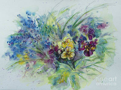 Painting - Grape Hyacinth and Viola by Ryn Shell