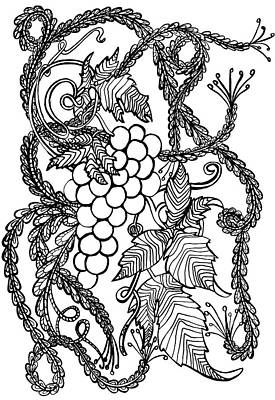 Animals Drawings - Grapes by Jennifer Wheatley Wolf
