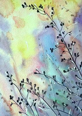 Colored Pencils - Grasses at Sunset by Luisa Millicent
